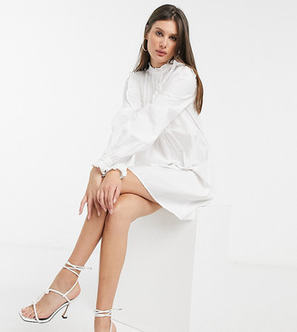 Asos Tall ASOS DESIGN Tall cotton trapeze mini smock dress with frill and pin tuck yoke detail