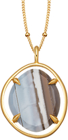 Missoma 18ct Gold Vermeil Slice Pendant Necklace, Blue Grey Chalcedony