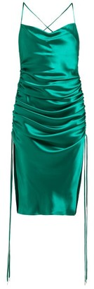 Galvan Yasmine Ruched Silk Satin Minidress - Womens - Green