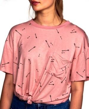 Self Esteem Juniors' Arrow-Print Tie-Hem Top