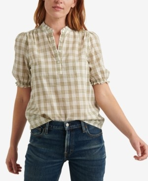 Lucky Brand Plaid Cotton Popover Top