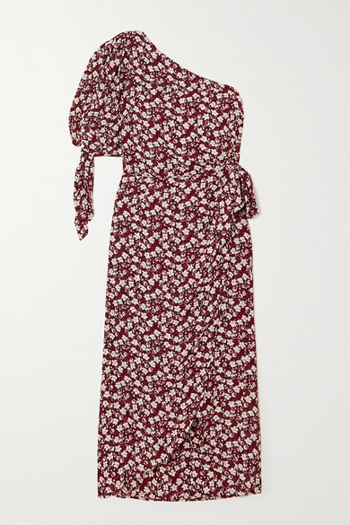 Reformation Rainey One-sleeve Floral-print Georgette Midi Dress - Red