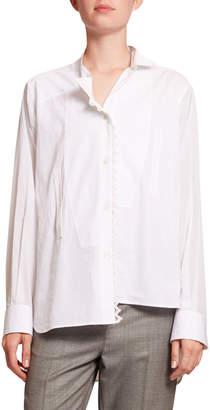 Loewe Lace-Trim Asymmetric Poplin Shirt