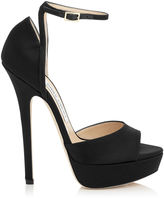 Jimmy Choo PEARL 145 Black Satin Platform Sandals