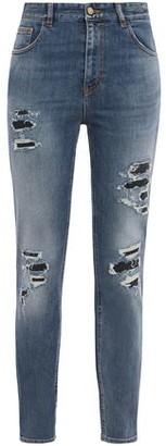 Just Cavalli Distressed Faded High-rise Slim-leg Jeans