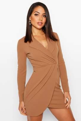 boohoo Wrap Front Blazer Dress