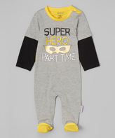 Silly Souls Gray & Yellow 'Super Hero' Footie - Infant