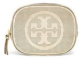 Tory Burch Logo Perforated Metallic Cosmetic Case