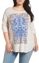 Lucky Brand Plus Size Women's Watercolor Hamsa Hand Tee