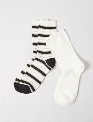 Lane Bryant Crew Socks 2-Pack - Striped & Solid