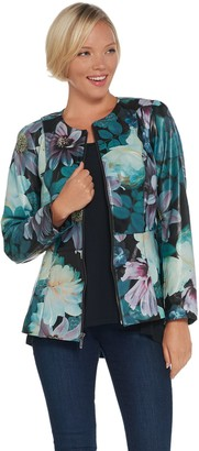 Isaac Mizrahi Live! Special Edition Floral Printed Leather Jacket