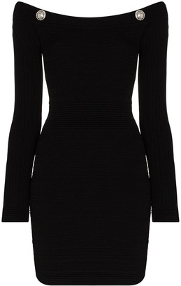 Balmain Off-The-Shoulder Mini Dress