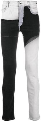 Rick Owens Denim Wax Patchwork Skinny Jeans