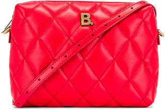 Balenciaga B Quilted Leather Camera Bag in Bright Red | FWRD