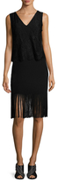 Nicole Miller Silk Fringe Trim Lace Shift Dress