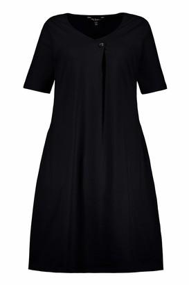 Ulla Popken Women's Plus Size Eco Cotton V-Neck Stretch Knit Dress Black 16/18 747432 10-42+