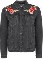 Black Rose Embroidered Denim Jacket