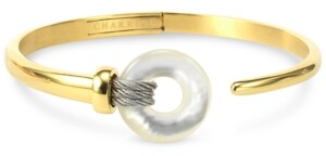 Charriol Mother-of-Pearl Two-Tone Bangle Bracelet in Pvd Stainless Steel and Gold-Tone