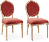 Sarreid Ltd. Zinnia Velvet Louis Side Chairs, Pair