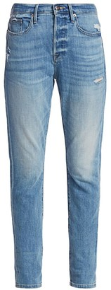 Frame Le Beau High-Rise Distressed Slim Jeans