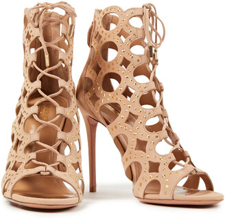 Aquazzura Begum 105 Lace-up Studded Cutout Suede Ankle Boots