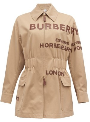 Burberry Logo-applique Zip-through Jacket - Beige