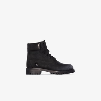 Jimmy Choo X Timberland black nubuck leather boots