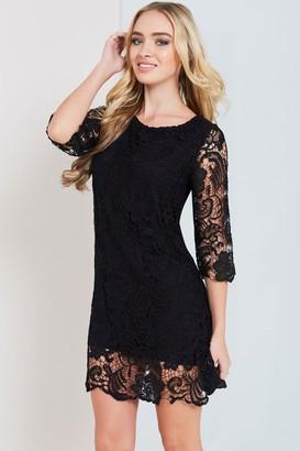 Paper Dolls Black Crochet Lace Bodycon Dress