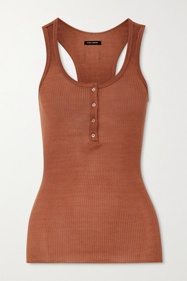 Isabel Marant Louisali Ribbed Silk-jersey Tank - Orange