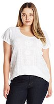 Lucky Brand Women's Plus-Size S'slv Embroidered Shirt Tail Top