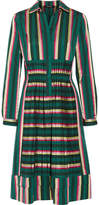 Etro Pleated Striped Cotton-blend Dress - Green