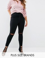 Missguided Plus Vice High Waisted Super Stretch Ripped Knee Skinny Jean