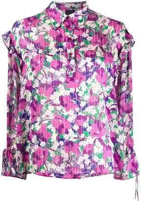 Pinko Floral-Print Ruffled Blouse