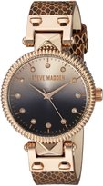 Steve Madden Women's Quartz Gold Casual Watch, Color:Brown (Model: SMW003AQ-M3)