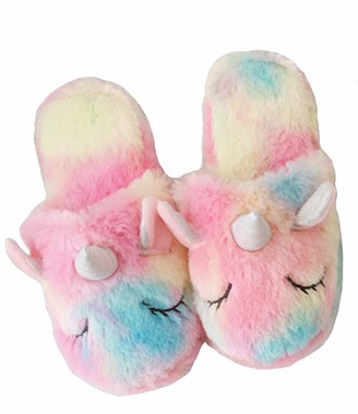 dressfan Girls Women Cute Unicorn Slippers Plush House Animal Slippers Girls Indoor Fluffy Unicorn Slippers