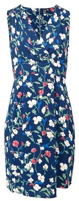 Dorothy Perkins Womens Izabel London Blue Floral Print Tie Back Shift Dress, Blue