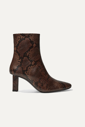 STAUD Brando Snake-effect Leather Ankle Boots - Snake print