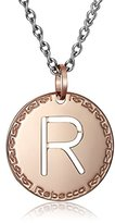 "Rebecca Word"" Rose Gold Over Bronze Letter ""R"" Necklace"