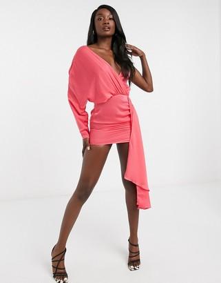 I SAW IT FIRST asymmetric satin drape mini dress in pink