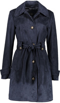 Navy Faux Suede Trench Coat