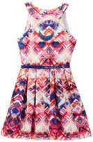 Beautees Belted Dress with Necklace (Big Girls)