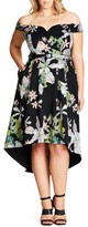 City Chic Plus Size Women's Spring Belted Off The Shoulder Dress