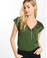 Express lace zip front blouse