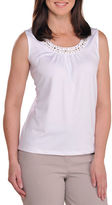 Allison Daley Petite Sleeveless Banded Scoop Neck Tank Top