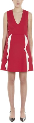 RED Valentino Ruffle Detail V-Neck Dress