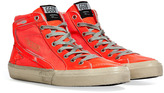 Golden Goose Fluo Red Leather Slide Sneakers