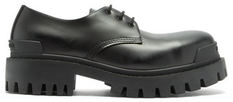 Balenciaga Strike Crocodile-effect Leather Derby Shoes - Mens - Black