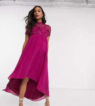 Chi Chi London Maternity lace detail midi dress with high low hem in fuchsia