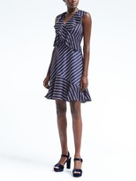 Banana Republic Stripe Cross-Flounce Fit-and-Flare Dress