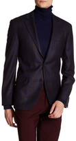 Ike Behar Brown Plaid Double Button Notched Lapel Jacket